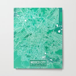 Mexico City Map - Watercolor Metal Print