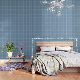 French Blue Linen Check Wallpaper