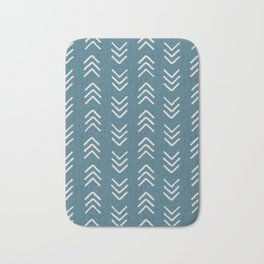 Muted teal and soft white ink brushed arrow heads pattern with textured background Bath Mat