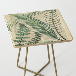 Book Art Page Botanical Leaves Side Table