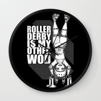 crossfit Wall Clocks featuring Roller Derby is My Other Wod Crossfit by RonkyTonk