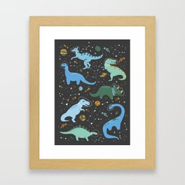 Dinosaurs in Space in Blue Framed Art Print
