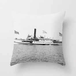 Ticonderoga Steamer on Lake Champlain Throw Pillow