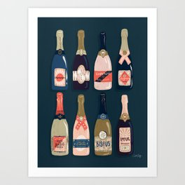 French Champagne Collection – Teal Art Print