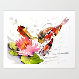 Koi Pond, feng shui koi fish art, design Art Print
