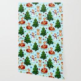 Blue Christmas - From Corgis, Santa And Christmas Trees Wallpaper