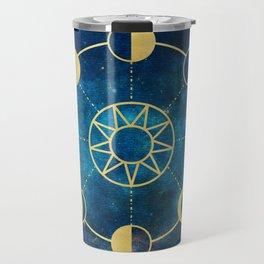 Gold Moon Phases Sun Stars Night Sky Navy Blue Travel Mug