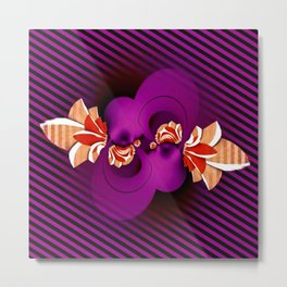 purple terracotta beige black abstract geometric striped 3d painting Metal Print