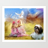 angels Art Prints featuring Angels by Rich Okun