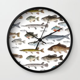 A Few Freshwater Fish Wall Clock