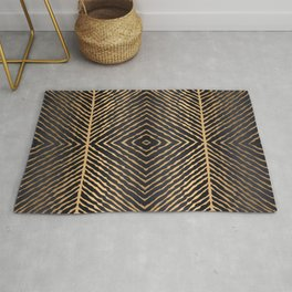 Black And Gold Seamless Pattern Line Art Rug