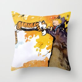calvin hobbes sleep in tree Throw Pillow