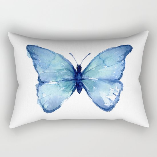 Blue Butterfly Watercolor Rectangular Pillow