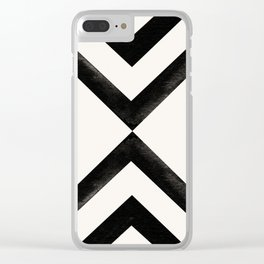 Converging Triangles Black and White Moroccan Tile Pattern Clear iPhone Case