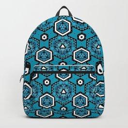 Cerulean Blue Geometric Pattern Design Backpack