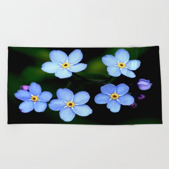 Tiny Blue Flowers Beach Towel