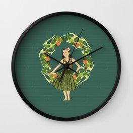 Hula Pineapple Wreath Wall Clock