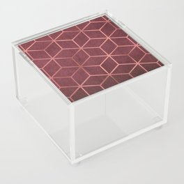Pink and Rose Gold - Geometric Textured Gradient Cube Design Acrylic Box