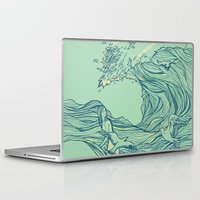 waves Laptop & iPad Skins featuring Ocean Breath by Huebucket
