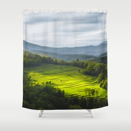Sun Shining On Field Of Terraces Shower Curtain