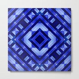 Blue Geometric Abstract  Metal Print