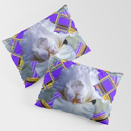 ART DECO WHITE IRIS PURPLE ART Pillow Sham