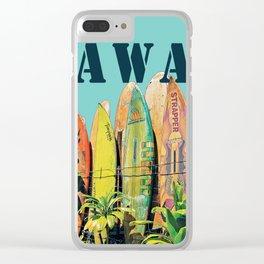 Hawaiian Surfboard Postcard Print Clear iPhone Case