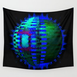 Green Layered Star in Blue Flames Wall Tapestry