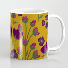 Purple and Gold Floral Seamless Illustration Coffee Mug