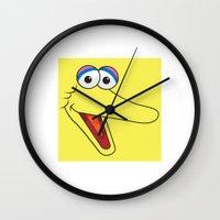 sesame street Wall Clocks featuring Sesame Street Big Bird by Jconner