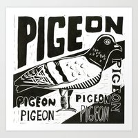 pigeon Art Prints featuring Pigeon by Peter Dunne