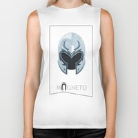 magneto Biker Tanks featuring Magneto by Tony Vazquez