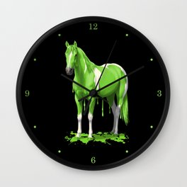 Lime Green Pinto Dripping Wet Paint Horse Wall Clock