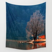 fishing Wall Tapestries featuring Gone fishing | waterscape photography by Patrick Jobst