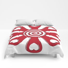 isolated fabric red flower with hearts on leaf  Comforters