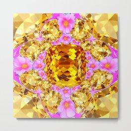 November Amber Color Citrine Gems & Pink Roses Metal Print