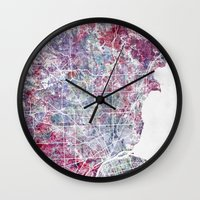 detroit Wall Clocks featuring Detroit map by MapMapMaps.Watercolors
