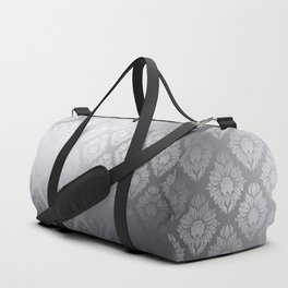 """Neutral gray Damask Pattern"" Duffle Bag"