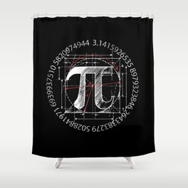 Pi Sign Drawing White Version Shower Curtain