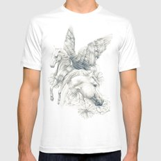 Pegasus White MEDIUM Mens Fitted Tee