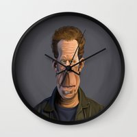 tom waits Wall Clocks featuring Celebrity Sunday ~ Tom Waits by rob art | illustration