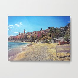Seacoast of Menton in a sunny day Metal Print