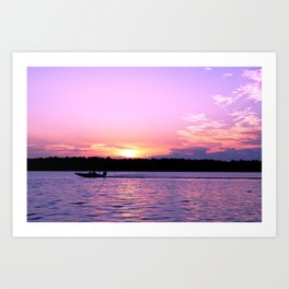 Bass boats and purple sunsets Art Print
