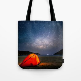 camping with the milky way Tote Bag