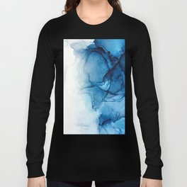 Blue Tides - Alcohol Ink Painting Long Sleeve T-shirt