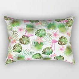 Stylish foliage and flamingo birds tropical motif design Rectangular Pillow