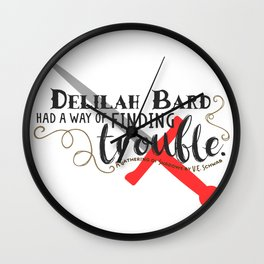 Finding Trouble (on white) Wall Clock