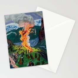 Astrup Nikolai (1880-1928) Midsummer Night Bonfire Stationery Cards