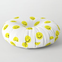 Smiley faces white yellow happy simple smiley pattern smile face kids nursery boys girls decor Floor Pillow