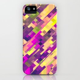 geometric square pixel pattern abstract background in pink purple green iPhone Case